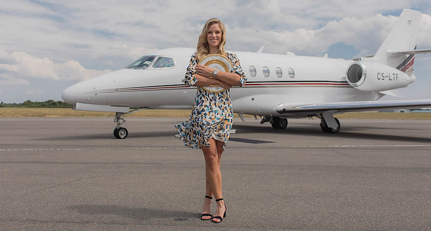 Angelique Kerber, 2018 Wimbledon Ladies' Singles Champion, at London Biggin Hill Aiport.