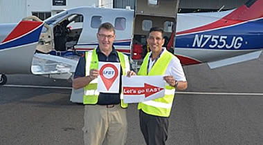 John Giddens, TBM owner (left), with Mark Diaz, Daher TBM director of sales, departed Tarbes-Lourdes-Pyrenees airport, destination New Delhi.