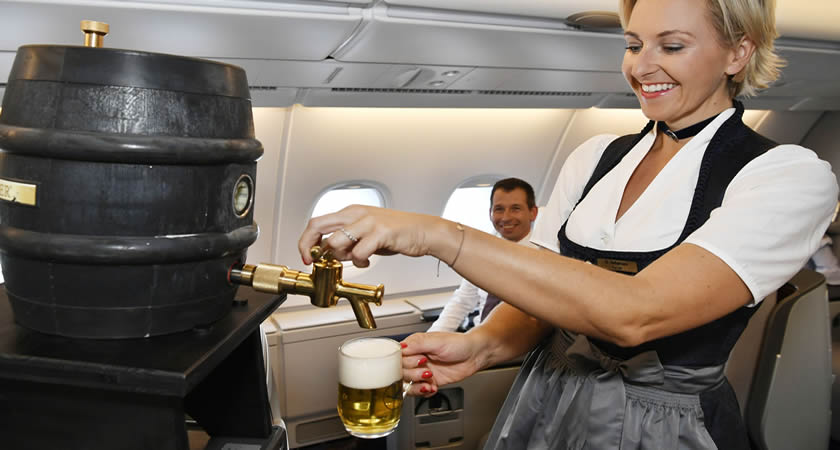 Fresh draft beer returns to Lufthansa flights after 50 years