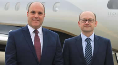 SaxonAir CEO Alex Durand (left) with Group Commercial Director Chris Mace.