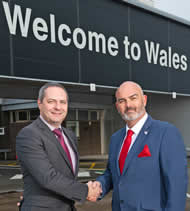 Spencer Birns, Commercial Director, Cardiff Airport (left) with Gordon Bingham, COO Global Trek Aviation.