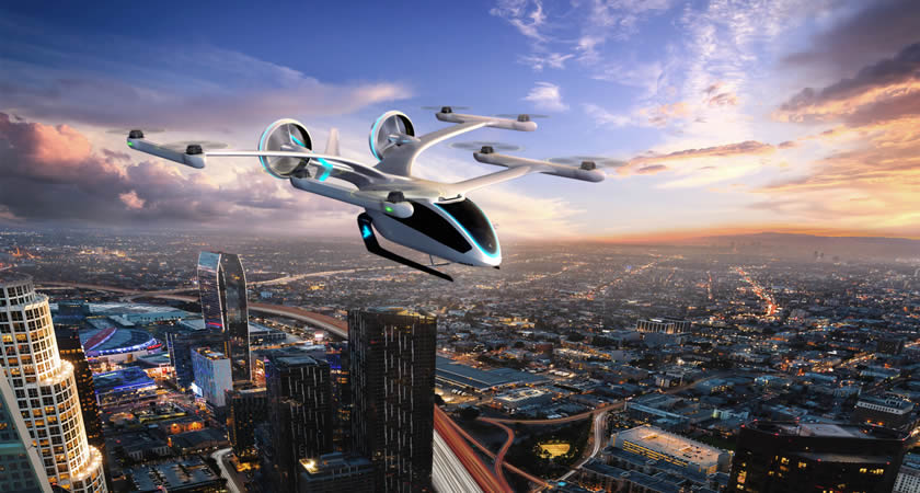 eVTOL flying over Los Angeles.