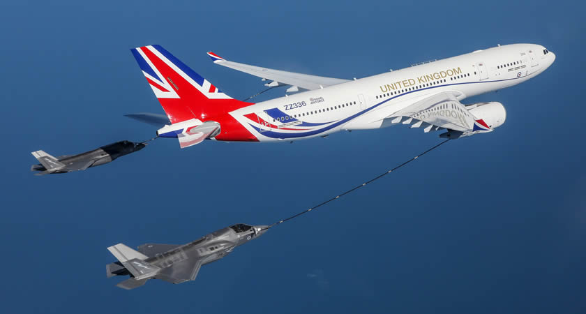 The newly painted Voyager refuelling 617 Sqn 'Dambusters' F-35 Lightings during Exercise Crimson Ocean, on 26 June